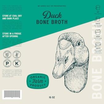 Szablon etykiety bulionu z kości drobiowych abstrakcyjny wektor opakowania żywności projekt układ ręcznie rysowane głowa kaczki ...