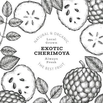 Szablon etykiety cherimoya ręcznie rysowane szkic stylu