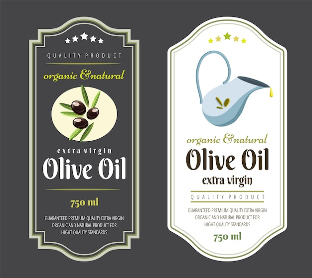 Szablon etykiety dla oliwy z oliwek. elegancka etykieta na opakowania najwyższej jakości oliwy z oliwek.