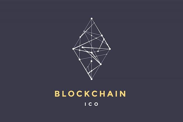 Szablon etykiety dla technologii blockchain. romb z połączonymi liniami dla marki, etykiety, logotypu symbolu bloku inteligentnego kontraktu. dla transakcji zdecentralizowanych. ilustracja