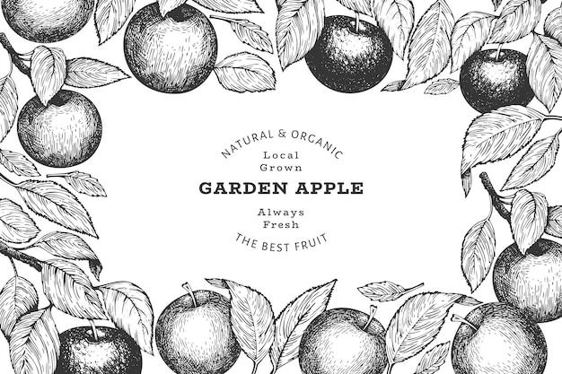 Szablon etykiety gałęzi jabłka.