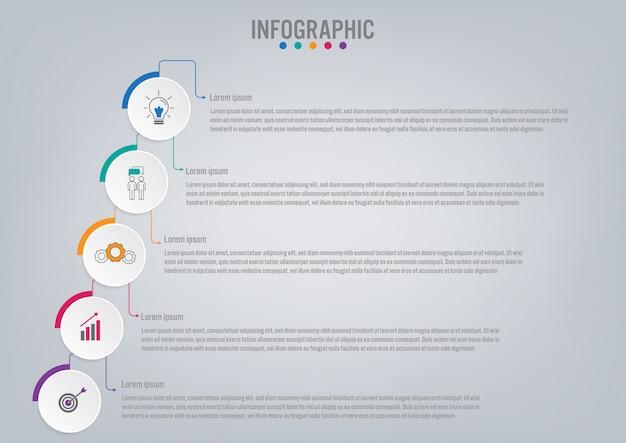 Szablon etykiety infographic biznesu z 5 opcji