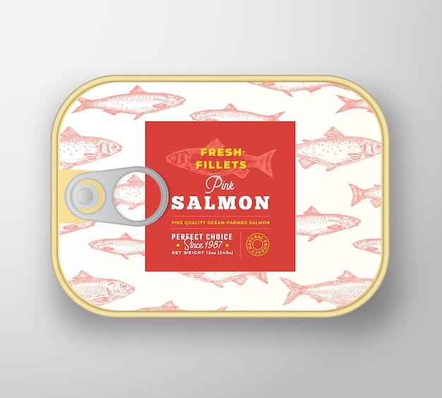 Szablon etykiety ryb w puszkach. streszczenie aluminiowy pojemnik na ryby z pokrywą etykiety.