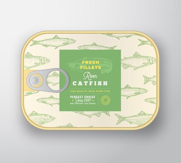 Szablon etykiety ryb w puszkach