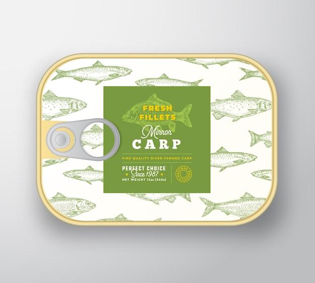 Szablon etykiety ryb w puszkach.