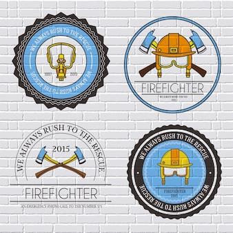 Szablon etykiety strażaka elementu godła dla twojego produktu lub projektu, sieci i telefonu komórkowego z tekstem.