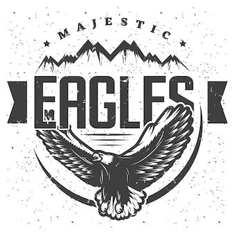 Szablon etykiety vintage majestic eagle