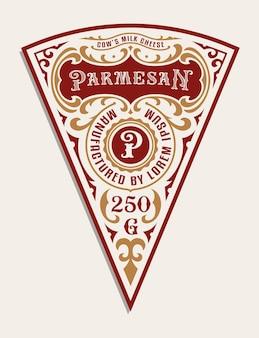 Szablon etykiety vintage sera, wszystkie elementy znajdują się w osobnej grupie i można je edytować