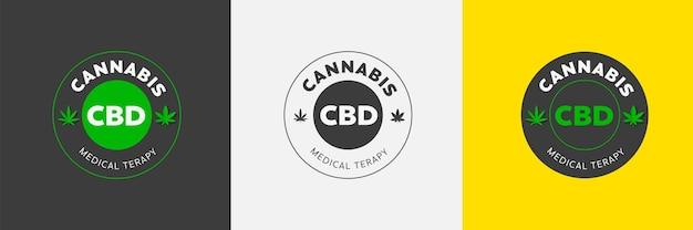 Szablon etykiety wektor z zielonym liściem marihuany organicznej marihuany cbd logo naturalnego produktu