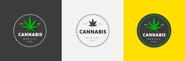 Szablon etykiety wektor z zielonym liściem medycznej marihuany produkt naturalny cbd