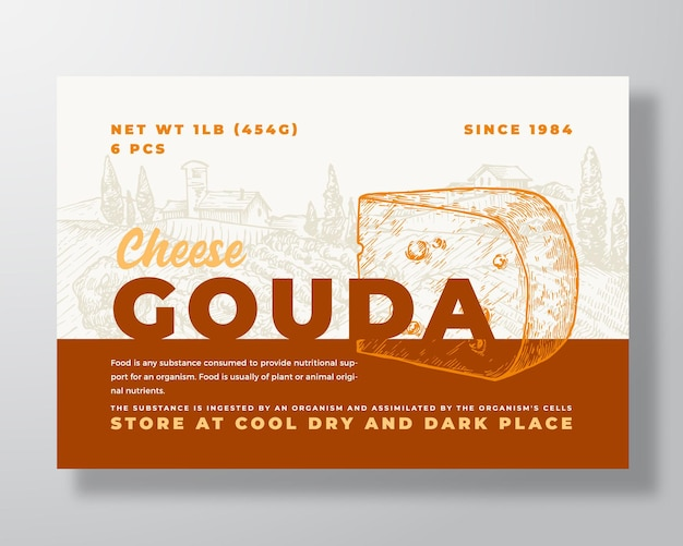 Szablon etykiety żywności mlecznej streszczenie wektor opakowanie projekt układ nowoczesny typografia baner z ręką...