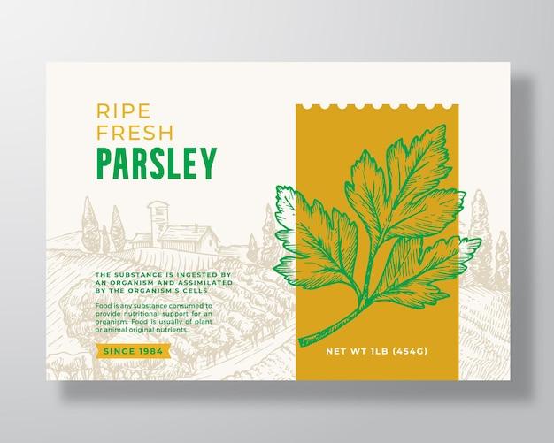 Szablon etykiety żywności świeżej pietruszki streszczenie wektor opakowania projekt układ nowoczesny typografia baner w ...