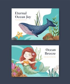 Szablon facebook z koncepcją zachwycony oceanemakwarelowy styl