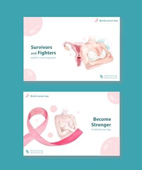 Szablon facebooka z koncepcją światowego dnia raka dla mediów społecznościowych i ilustracji wektorowych akwareli marketingu online.