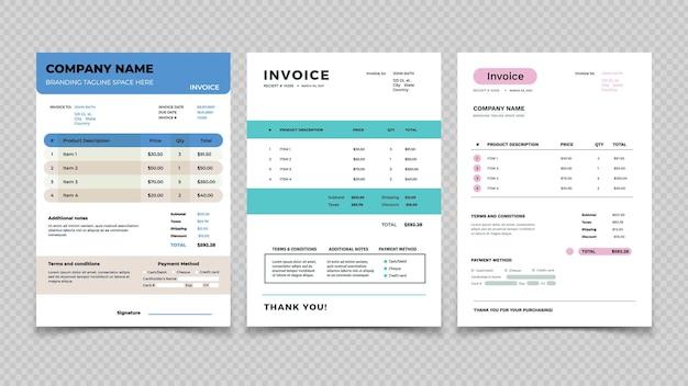 Szablon faktury. projekt paragonu, fakturowanie wyceny i sprzedaż. zestaw wektorowy formularza umowy zamówienia klienta. ilustracja zlecenie księgowe, dokument rachunku, płatność całkowita