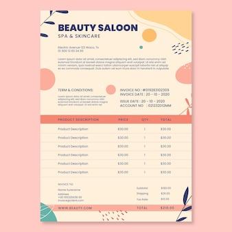 Szablon faktury za salon piękności