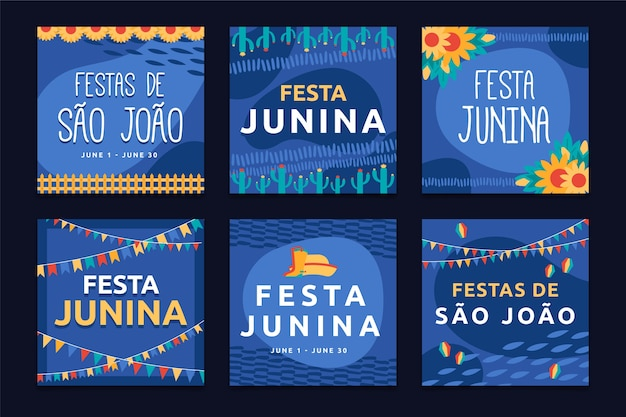 Szablon festa junina motywu kolekcji kart