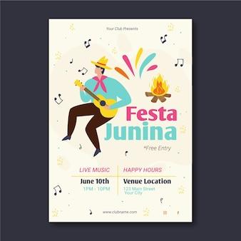 Szablon festa junina na temat plakatu