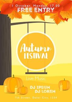 Szablon festiwalu jesień. jasny kolorowy jesienny krajobraz na tle pionowym. szablon na wakacje, koncerty i imprezy. jesienny motyw.