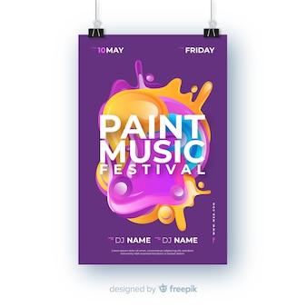 Szablon festiwalu muzyki abstrakcyjnej farby plakat