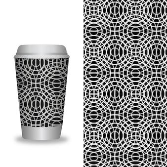 Szablon filiżanki kawy z wzorami