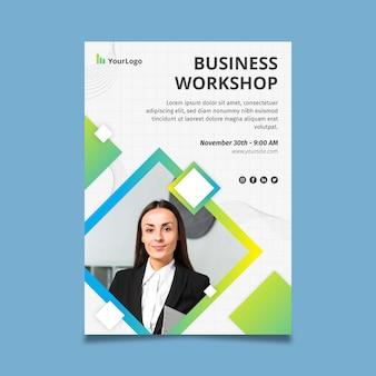Szablon firmowy plakat warsztaty biznesowe