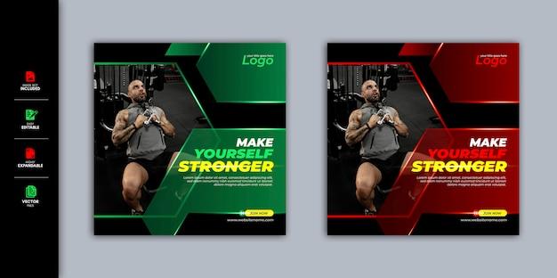 Szablon fitness gym media społecznościowe post banner story