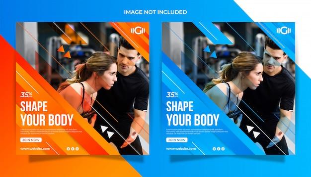 Szablon fitness siłownia mediów społecznych szablon transparent