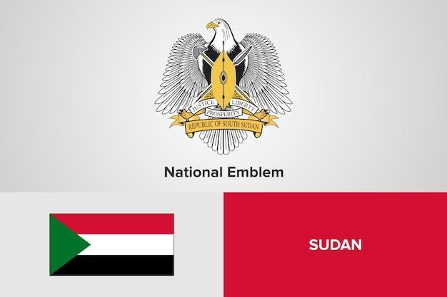 Szablon flagi sudanu godło narodowe