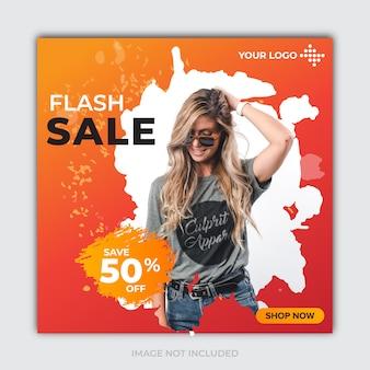 Szablon flash sprzedaż banner dla postu w mediach społecznościowych