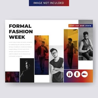 Szablon flyer firmy poziome mody