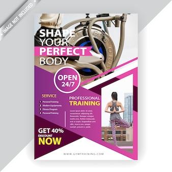 Szablon flyer komercyjnych fitness