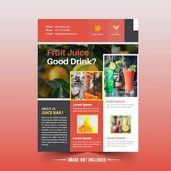 Szablon flyer owoców sok owocowy