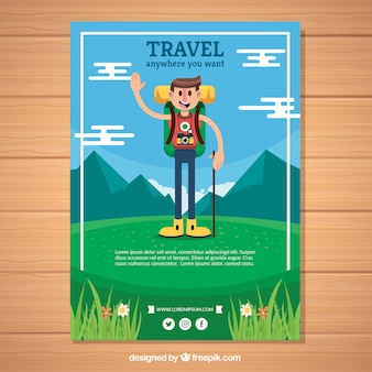 Szablon flyer płaski podróży z stylem adveture