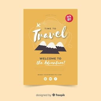 Szablon flyer podróży górskich