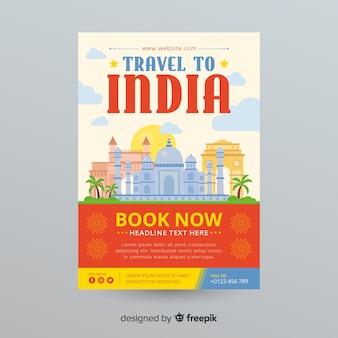 Szablon flyer podróży w indiach