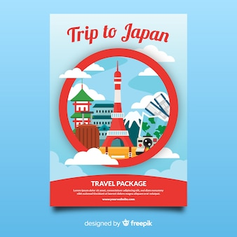Szablon flyer podróży w japonii