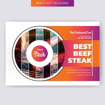 Szablon flyer poziomy żywności dla restauracji