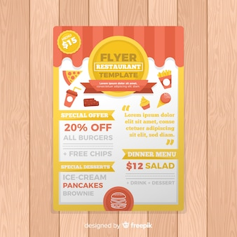 Szablon flyer restauracji nowoczesne fast food