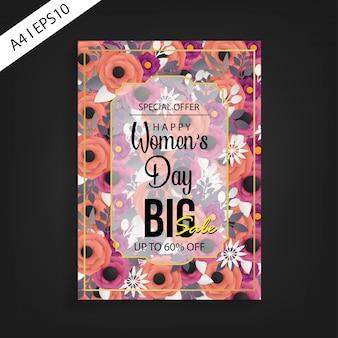 Szablon flyer sprzedaży szczęśliwy dzień kobiet duża