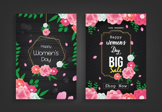 Szablon flyer sprzedaży szczęśliwy dzień kobiet