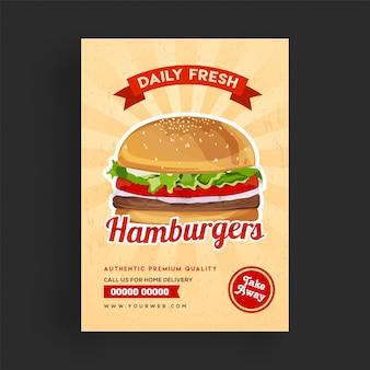 Szablon flyer świeżych hamburgerów.
