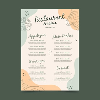 Szablon formatu pionowego menu cyfrowej restauracji memphis