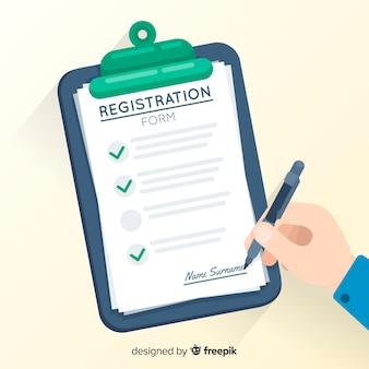 Szablon formularza rejestracyjnego o płaskiej konstrukcji