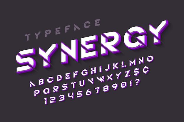 Szablon futurystyczny alfabet sci-fi, zestaw kreatywnych znaków.