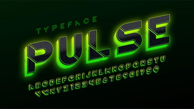 Szablon futurystyczny alfabet science-fiction, dodatkowe świecące litery