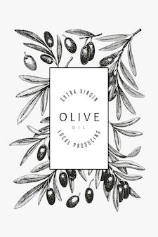 Szablon gałązki oliwnej. ręcznie rysowane ilustracja jedzenie. grawerowana roślina śródziemnomorska w stylu. retro obraz botaniczny.
