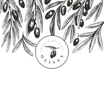 Szablon gałązki oliwnej.