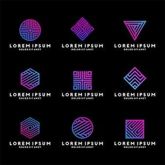 Szablon geometryczne logo z kolor gradientu neon