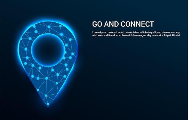 Szablon globalnego systemu połączeń i nawigacji z niebieskim wskaźnikiem mapy cyfrowej i miejscem na tekst.